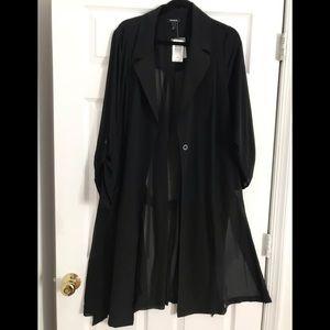 Torrid Black Georgette Trench sheer coat NWT